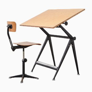 Mid-Century Drafting Table and Chair Set by Friso Kramer for Ahrend De Cirkel, 1960s