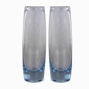 Jarrones de vidrio de Per Lütken para Holmegaard, años 60. Juego de 2