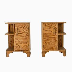Mesitas de noche suecas de madera de pino, años 30. Juego de 2