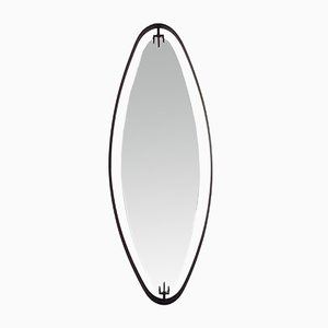 Italian Oval Black Metal-Framed Hanging Mirror from Fontana Arte, 1950s