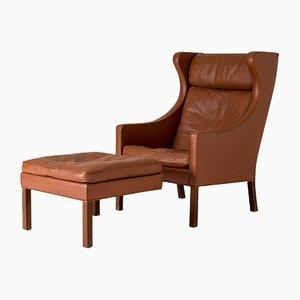 Juego de sillón y otomana de Fredericia, años 60