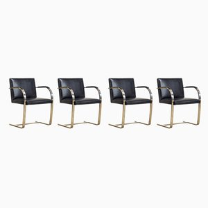 Black Leather and Chrome Armchairs by Ludwig Mies van der Rohe for Knoll, 1990s, Set of 4