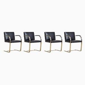 Verchromte Armlehnstühle mit schwarzen Lederbezügen von Ludwig Mies van der Rohe für Knoll, 1990er, 4er Set