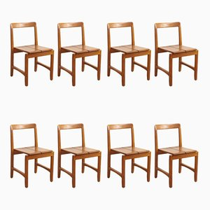 Mid-Century Danish Oak Side Chairs, 1960s, Set of 8