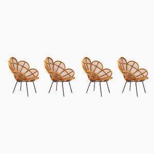 Französische Mid-Century Gartenstühle aus Korbgeflecht & Bast, 4er Set