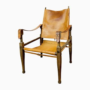 Swiss Leather and Beech Safari Lounge Chair by Wilhelm Kienzle for Wohnbedarf, 1950s