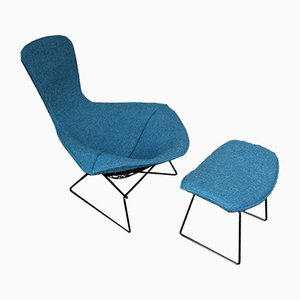 Vintage Lounge Chair and Ottoman Set by Harry Bertoia for Knoll Inc. / Knoll International, 1950s