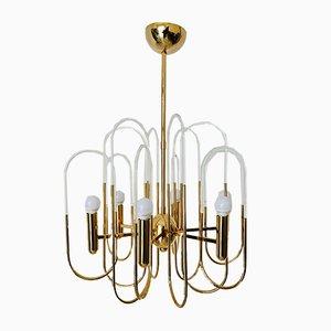 Lámpara de araña Mid-Century de latón y cristal de Gaetano Sciolari, años 60