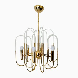 Mid-Century Brass and Crystal Chandelier by Gaetano Sciolari, 1960s