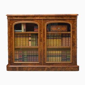 Antikes viktorianisches Bücherregal aus Nusswurzelholz
