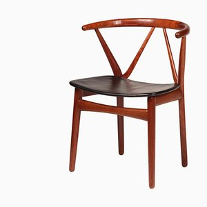 Mid-Century Scandinavian Teak and Leather Model 255 Desk Chair by Henning Kjærnulf for Bruno Hansen