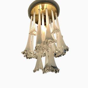Lampada da soffitto a cascata in vetro opalino di Venini, anni '70