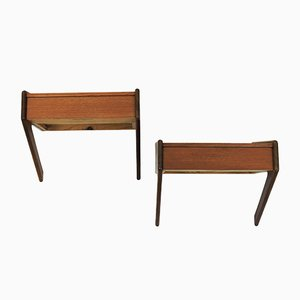 Mid-Century Danish Teak and Oak Night Stands from Ølholm Møbelfabrik, 1960s, Set of 2