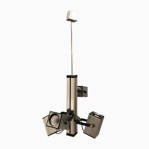 Lámpara de araña italiana de metal cromado, años 70