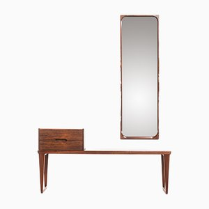 Mesa auxiliar, cajonera y espejo de palisandro de Kai Kristiansen para Aksel Kjersgaard, años 60. Juego de 3