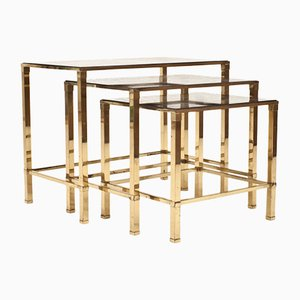 Vintage Italian Brass Nesting Tables, 1970s