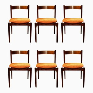 Italian Wood and Fabric Dining Chairs by Gianfranco Frattini for Cassina, 1960s, Set of 6