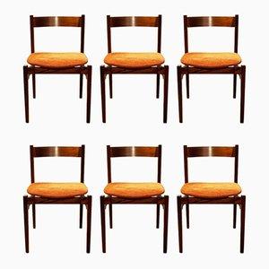 Italienische Esszimmerstühle aus Holz & Stoff von Gianfranco Frattini für Cassina, 1960er, 6er Set