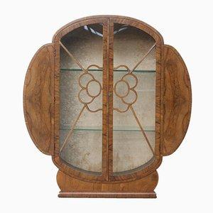 Art Deco Walnut and Glass Cabinet, 1930s