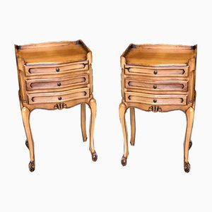 French Cherrywood Nightstands, 1920s, Set of 2