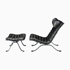 Black Leather Lounge Chair and Ottoman by Arne Norell for Arne Norell AB, 1960s, Set of 2