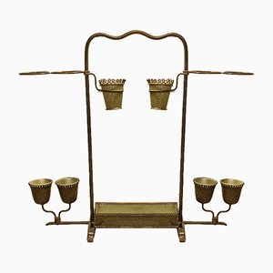 Portaombrelli con vaso portafiori in ottone di Cesare Lacca per Cesare Lacca, anni '50