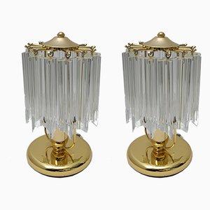 Italienische Modell Quadriedri Tischlampen aus Muranoglas, 1970er, 2er Set