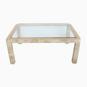 Travertine Marble and Glass Coffee Table, 1970s