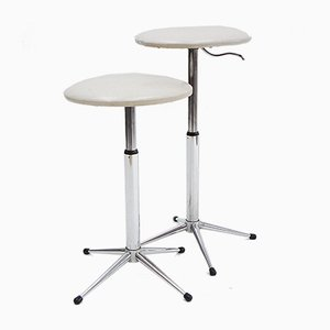 Skai and Chrome Telescopic Stools, 1970s, Set of 2