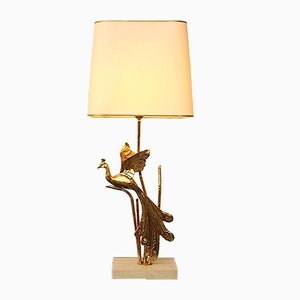 Gilt Metal Peacock Table Lamp by Maison Jansen, 1970s