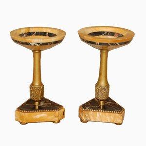 Tazas Art Déco de bronce y mármol, años 20. Juego de 2