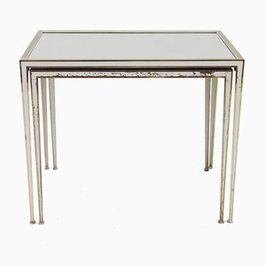 Vintage Lacquered Brass and Mirror Nesting Tables from Maison Jansen