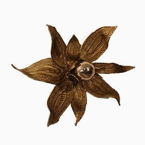 Wandleuchte aus vergoldeter Bronze in Blumen-Optik von Paul Moerenhout, 1960er