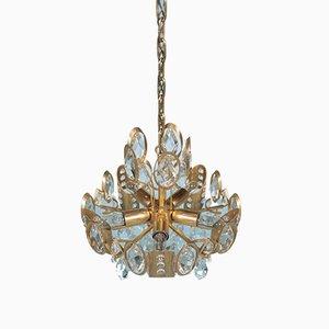 Lámpara de araña Mid-Century de latón y cristal de Gaetano Sciolari para Palwa