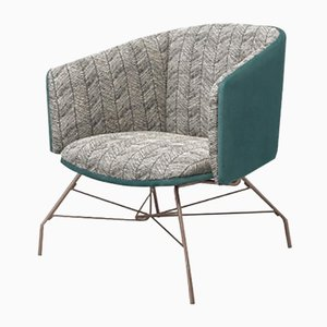 Armchair With Metal Legs In Turquoise by Pradi for Pradi Handicraft