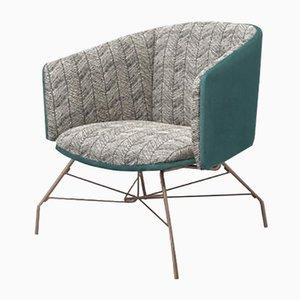 Türkiser Sessel mit Metallbeinen von Pradi für Pradi Handicraft