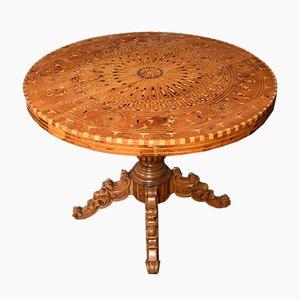Mesa de comedor italiana antigua de palisandro y nogal