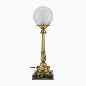 Bronze, Marble, and Opaline Glass Table Lamp, 1930s
