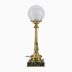 Lámpara de mesa de bronce, mármol y vidrio opalino, años 30
