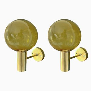 Mid-Century Brass and Glass Sconces by Hans-Agne Jakobsson for Hans-Agne Jakobsson AB Markaryd, Set of 2