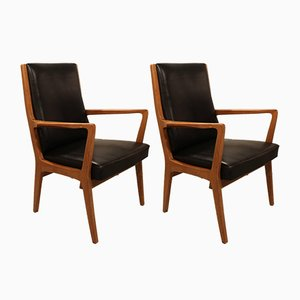 Scandinavian Leather Side Chairs, 1960s, Set of 2