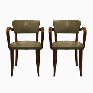 Französische Beistellstühle aus Eiche, 1930er, 2er Set