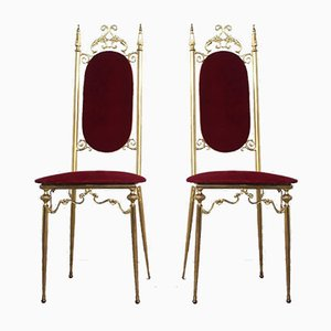 Italian Brass Side Chairs, 1950s, Set of 2