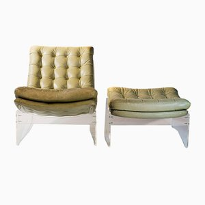 Italian Lucite, Plexiglass, and Leather Lounge Chair and Ottoman, 1960s, Set of 2