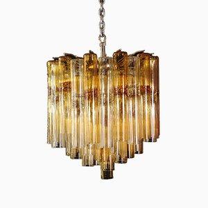 Lámpara de araña de cristal de Murano en ámbar, años 50