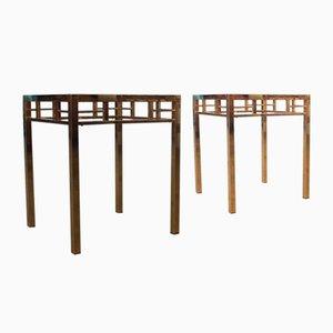 Tables d'Appoint Dorées de Maison Jansen, années 70, Set de 2