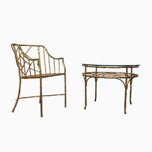 Chaises d'Appoint en Bambou et Set de Table, années 70