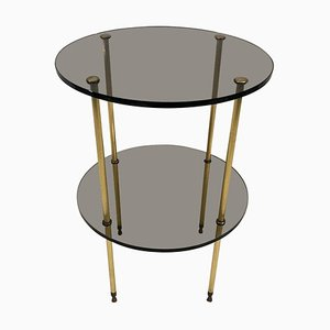 Smoked Glass and Brass Side Table, 1970s