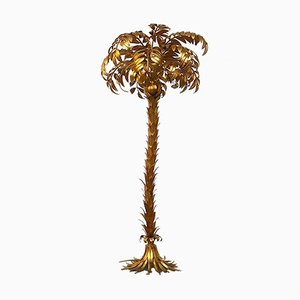 Gilt Metal Palm Floor Lamp by Hans Kögl, 1970s
