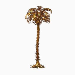 Lampada da terra a forma di palma in metallo dorato di Hans Kögl, anni '70